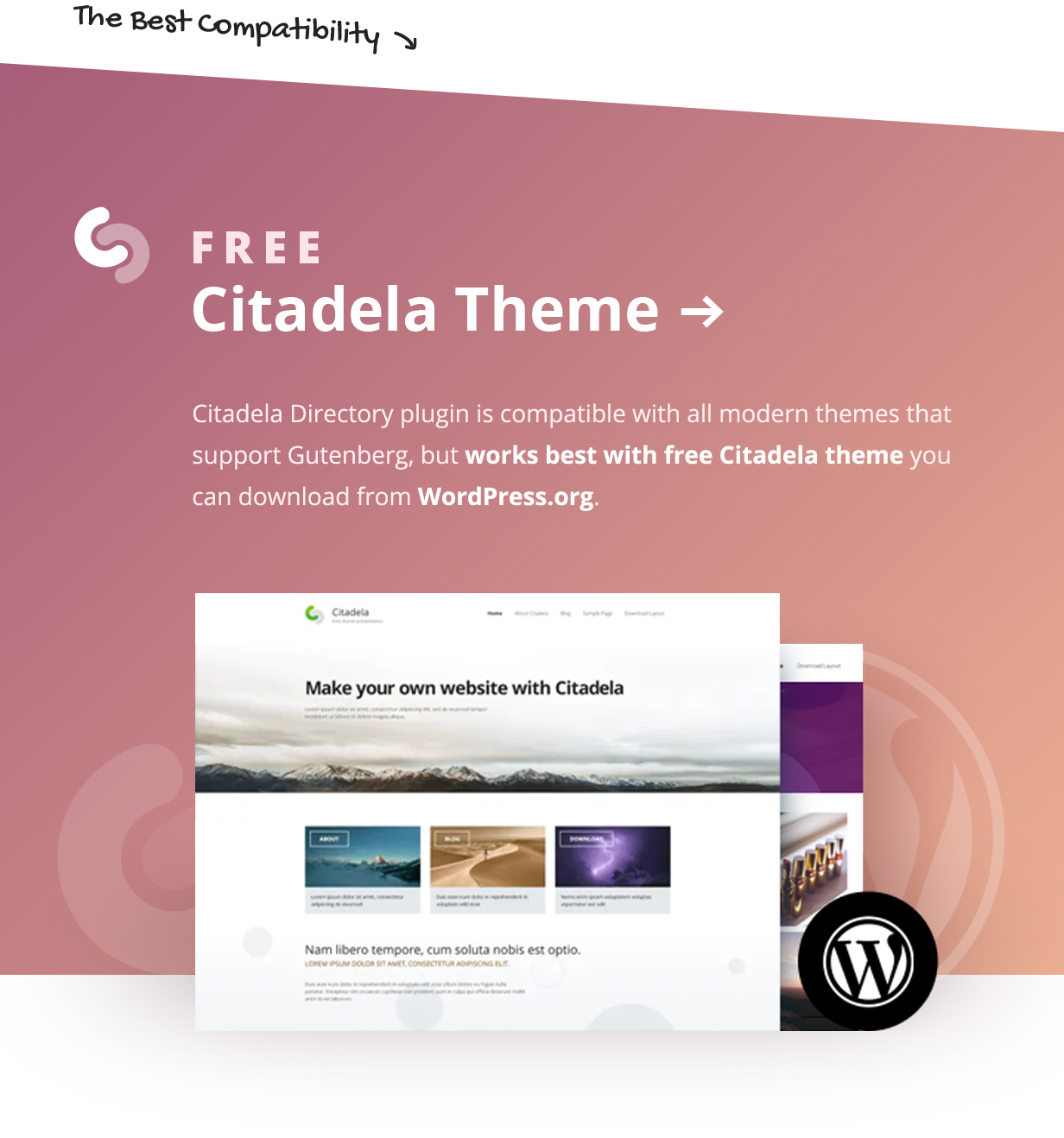 Free Citadela Theme for the best plugin compatibility