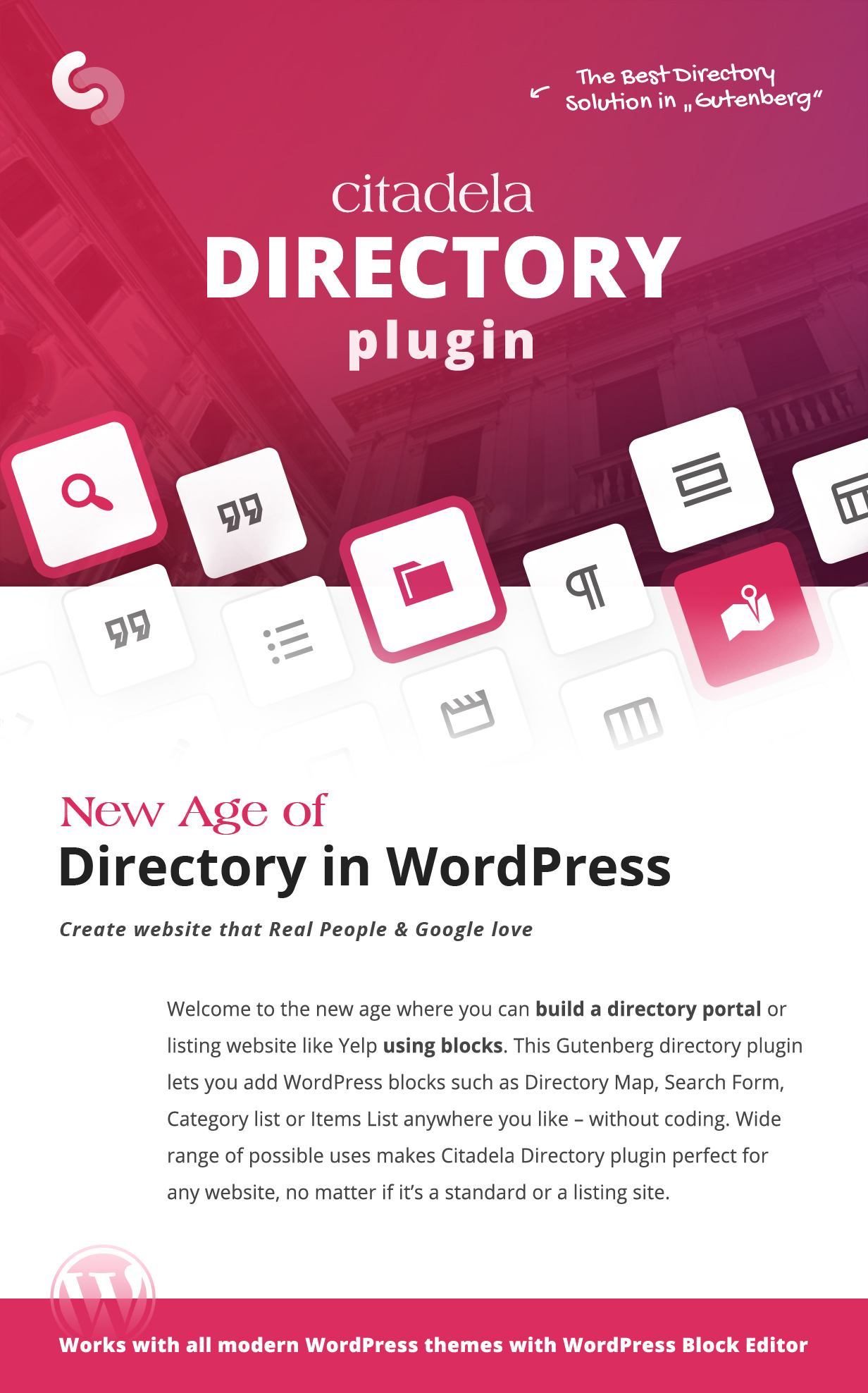 Citadela Directory plugin as the best directory solution in Gutenberg