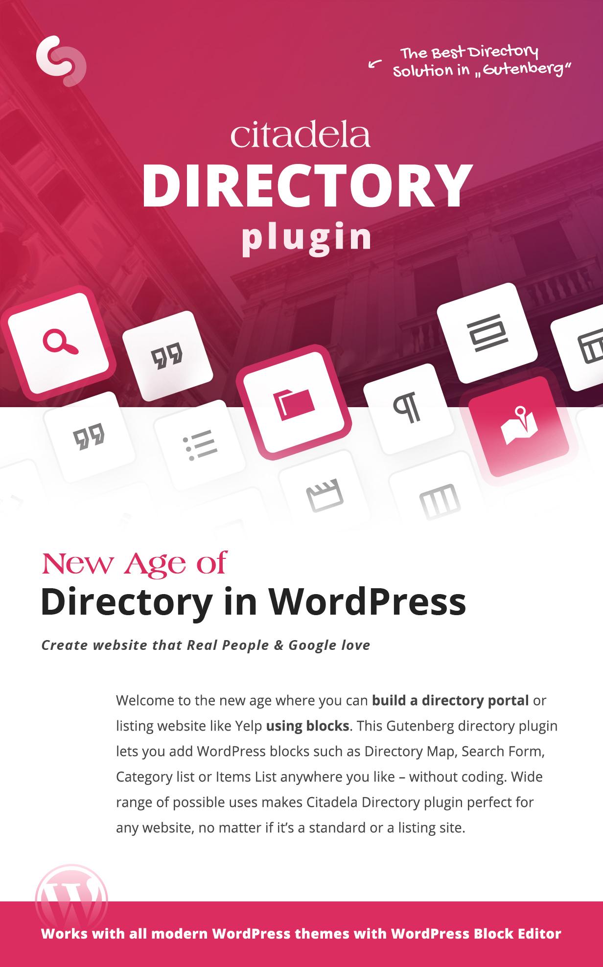 Plug-in Citadela Directory como a melhor solução de diretório em Gutenberg