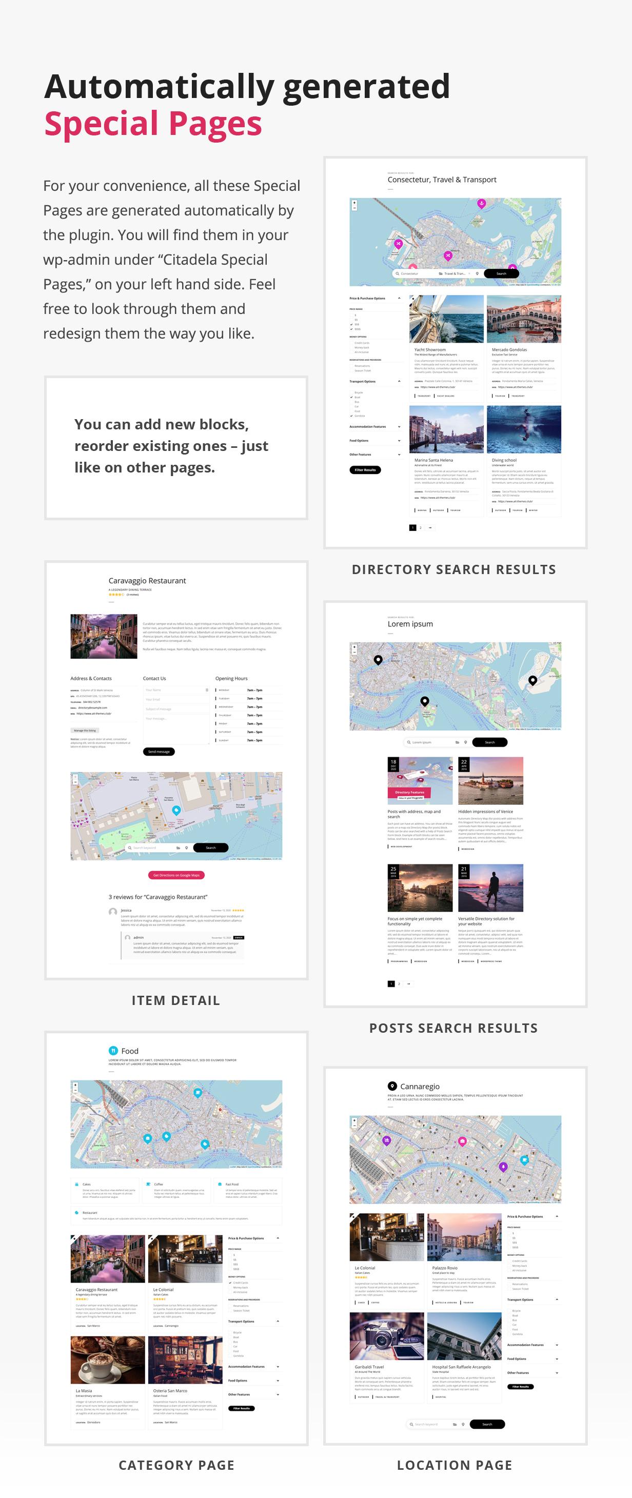Páginas especiais do diretório como item, resultados de pesquisa, categoria e localização