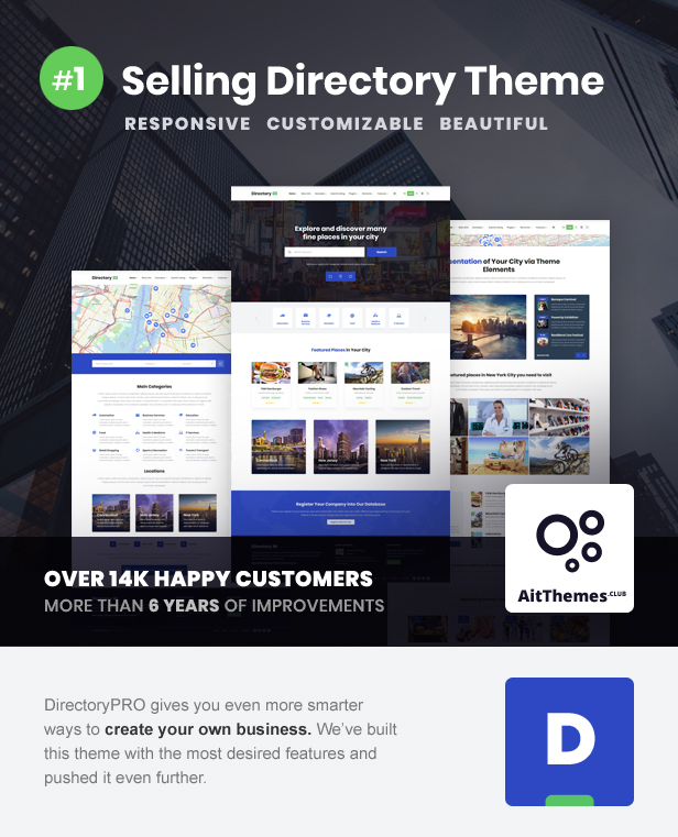 Fully Customizable Directory Theme DirectoryPRO – WordPress Directory Theme Nulled Free Download directory intro