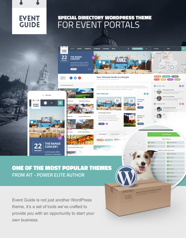 WordPress theme Event Guide - Ultimate Directory Listing Theme for Events, Concerts, Gigs, Museums or Galleries (Events)